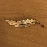 Broche feuille bijoux vintage métal doré ❤️ Brooch leaf jewelry gold metal