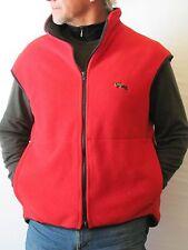 Full Zippered Front Red Fleece Vest, Equine 'Helmet Helper Women's Size XL
