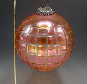VINTAGE KUGEL IRIDESCENT CRANBERRY  CUT TO CLEAR HUGE CHRISTMAS ORNAMENT