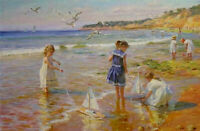 ZOPT1121 hand painted little girl playing by seaside art oil painting on canvas