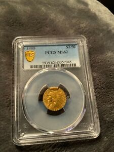 1908 $2.5 INDIAN PCGS MS62 BETTER DATE FIRST YEAR of ISSUE