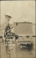 Southington CT Boy Fishing c1910 Real Photo Postcard