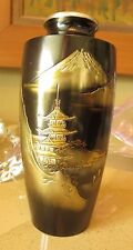 Vintage Mid-century/earlier Japanese (Japan) Bronze Vase /silver/gold Mt. Fuji