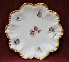 """Limoges Purple Floral Design 6.75"""" Round Plate with Gold Trim"""