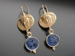 TAGLIAMONTE Earrings YGP/SS Medusa Cameo+blue Venetian Intaglio leverback drops