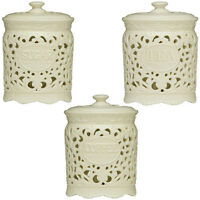 Tea Coffee Sugar Cream Ceramic Lace Canister Jar Great For Home Kitchen