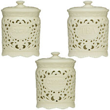 Set of 3 Tea Coffee Sugar Canisters Kitchen Storage Pots Jars Cream Ceramic Lace