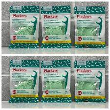 6 Bags Plackers Hi Performance No Shred Or Break Mint 60 Count Dental Flossers