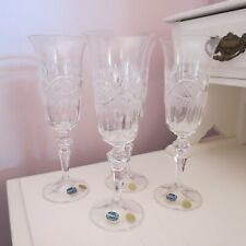 Lovely set of 4 bohemia crystal flutes in original box 'Salisbury' as new