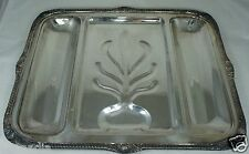 """Antique Silver Plate Meat Serving Divided Tray Shell Ornate 19"""" W/ Tree Well"""
