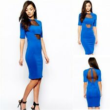 Selfish by Forever Unique Bodycon Dress With Mesh Front Panel  Blue UK Size 6