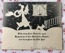 1930s Silver Embossed Christmas Card Pretty Lady Scottie Dog Candle Wreath Tree