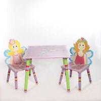 Set Kinder Mal Spiel Tisch 2 Stühle Holz Sitz Gruppe Ecke Rosa Holz Princess