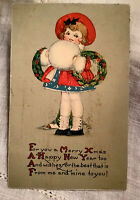 "Vintage Postcard-1929-Little Girl ""For You a Merry Xmas""-Gartner/Bender 1c Stamp"