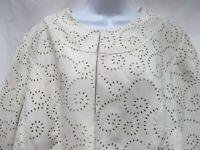 Maggie Barnes 1X 18W 20W ivory faux suede moleskin jacket cutout design MINT