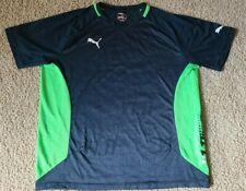 Puma v1.11 Men's Neon Green & Dark Blue Men's Soccer Jersey Running Shirt Large