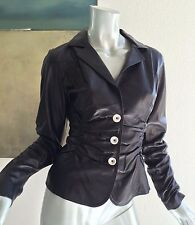 NWT $656.00 BLACK LEATHER FITTED BLAZER JACKET SIZE 4 SMALL HAND MADE NUMBERED