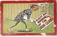 Anthropomorphic insect 1912 Postcard Fantasy Gulick Bug Club Baseball Theme