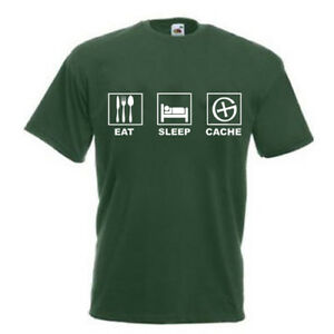 Eat Sleep Cache  Gr. S - 5XL T-Shirt Geocaching Bekleidung Übergröße Cacher