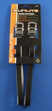Black leather 420mm bicycle pedal toe straps pair NEW Sunlite