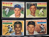 1956 Topps~New York Giants Partial Team~4 VINTAGE Baseball Cards~Fair-Good!