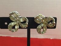 Vintage Coro Rhodium Plated Bow Clip On Earrings 1950's  #B18