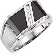 argento sterling custom-cut ONICE NERA & ORIGINALE BIANCO ZAFFIRO per uomo