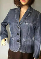 Gap Womens Denim Fitted Lined Jacket Pockets UK Size 10 Denim Blue Great Cond