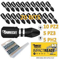 20x SabreCut Impact Driver Bits Set PZ2 PZ3 PH2 PROFESSIONAL POZI