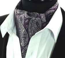 587f742bf8d9 Uomo Ascot Cravatta Seta Viola Argento Floreale Cachemire Foulard Sciarpa