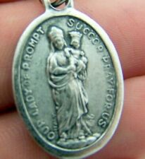 Our Lady of Prompt Succor Religious Charm Pendant Pray for US Silver Gild Medal