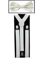 White SUSPENDERS and BOW TIE COMBO SET Unisex Adjustable Suspender Bowtie