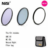 NiSi 52 58 62 67 72 77 82mm Circular Filter Kit UNC UV+MC CPL+Natural Night