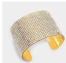 """2"""" Wide Gold Rhinestone Bridal Ab Aurora Formal  Pageant Crystal Cuff Bracelet"""