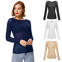 Women's Sheer Mesh Long Sleeve T-Shirt Tee Hollow Transparent Slim Blouse Tops