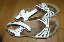 Birkenstock Rio Real Leather White Footbed Sandals UK 7 / 40 Standard fit