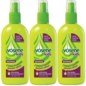 3 x Vosene Kids Conditioning Defence Spray, 150ml, Natural Head Lice Repellents