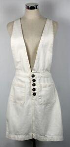 Cotton On Size 10 Denim Skirt Cream Shortalls Overalls Dungarees Button Front