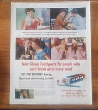 """1955 Gleem Toothpaste Vintage Magazine Ad """"Just one brushing destroys decay"""""""