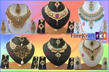 New Wholesale Lot Of 6 Kundan Bollywood Partywear Fashion Gold Plated Necklaces