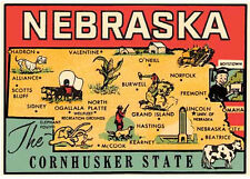 Nebraska  State Map    Vintage-1950's  Looking Travel Sticker Decal