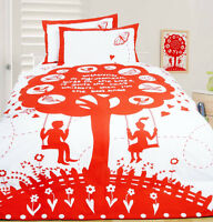 Bees Knees Red Butterflies & Love Hearts DOUBLE Size Quilt Doona Cover Set