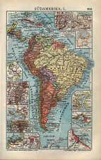 Carte MAP 1910: Amérique du sud. I/II. populaire densité geolog. - tiergeog. vue d'ensemble