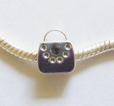 1 Silver Plated Enamel Handbag Charm Bead For European/Charm Bracelet - Purple