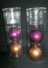 yankee candle glass holders with baubles new pair