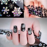 Holographic Christmas Snowflake Nail Art Foils Wraps Colorful Transfer Stickers