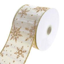 Golden Snowflakes Metallic Striped Wired Christmas Holiday Ribbon, White, 2-1/2-