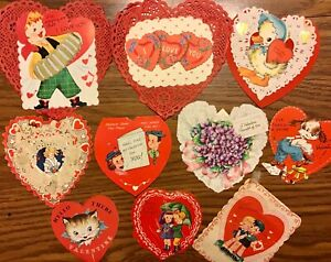 Vintage Valentine Card Lot of 10 Heart Shape Lace Handmade Hallmark