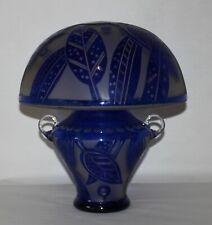 ANTIQUE Mushroom Lamp Base & Shade ART DECO Blue CZECHOSLOVAKIA