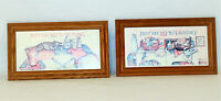 2 Vtg 80s FIGI GRAPHICS Laundry Room Cats Wall Decor Plaques Pictures Wood Frame
